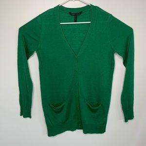 BCBG Maxazria Size Medium Green Cardigan Sweater